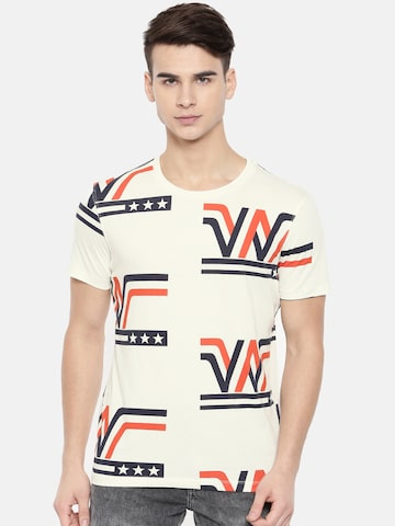 Wrangler Men Off-White Printed Round Neck T-shirt Wrangler Tshirts at myntra