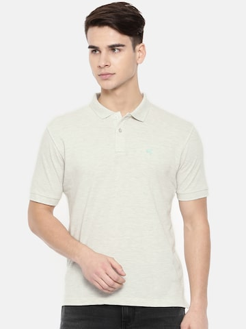 Wrangler Men Off White Polo Collar T-shirt Wrangler Tshirts at myntra
