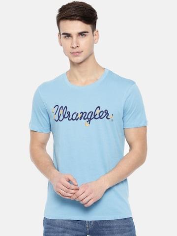 Wrangler Men Blue Printed Round Neck T-shirt Wrangler Tshirts at myntra