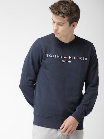Tommy Hilfiger Men Navy Self Design Sweatshirt Tommy Hilfiger Sweatshirts at myntra