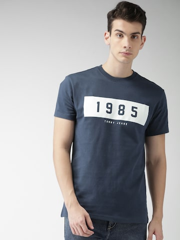 Tommy Hilfiger Men Navy Blue Printed Round Neck T-shirt Tommy Hilfiger Tshirts at myntra