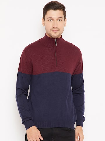Wills Lifestyle Men Navy Blue & Maroon Colourblocked Pullover Wills Lifestyle Sweaters at myntra