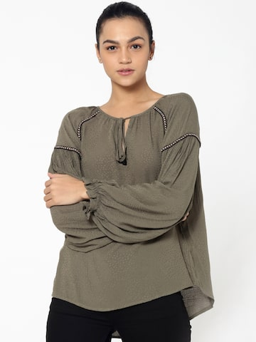 ONLY Women Grey Self-Design Top ONLY Tops at myntra