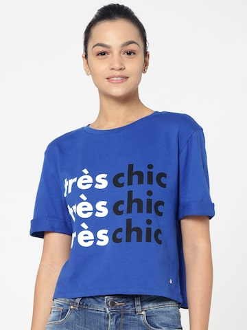 ONLY Women Blue Printed Styled Back Top ONLY Tops at myntra