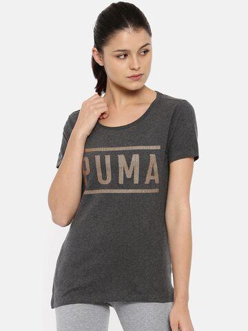 Puma Women Grey Printed Regular Fit ATHLETIC T-Shirt Puma Tshirts at myntra