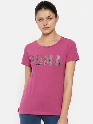 Puma Women Magenta Printed Regular Fit ATHLETIC T-Shirt Puma Tshirts at myntra