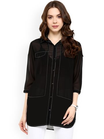Pannkh Women Black Solid Shirt Style Top Pannkh Tops at myntra
