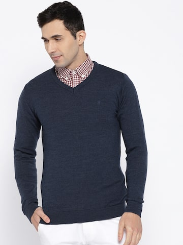 Van Heusen Men Navy Solid Sweater Van Heusen Sweaters at myntra