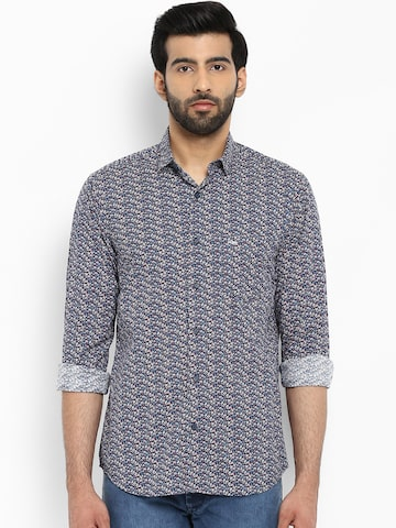 ColorPlus Men Navy Blue & White Tailored Fit Printed Casual Shirt ColorPlus Shirts at myntra