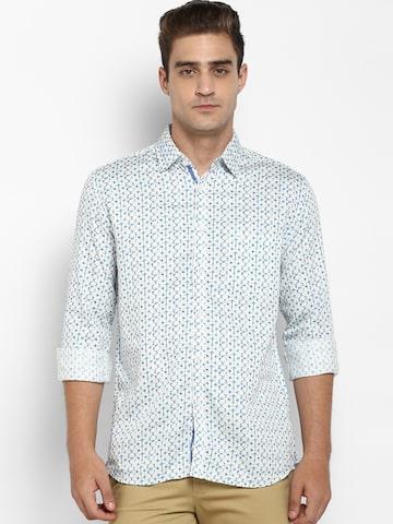 Parx Men White & Blue Slim Fit Printed Casual Shirt Parx Shirts at myntra