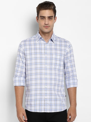 Parx Men Blue & White Slim Fit Checked Casual Shirt Parx Shirts at myntra