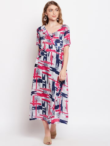 Meee Women Pink Printed Wrap Dress Meee Dresses at myntra