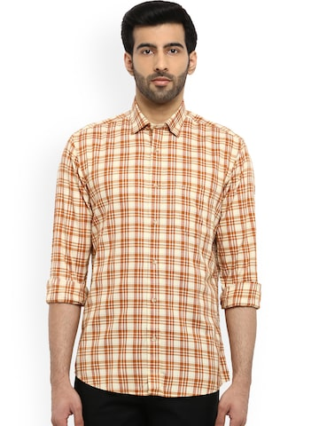 ColorPlus Men Mustard & White Tailored Fit Checked Casual Shirt ColorPlus Shirts at myntra