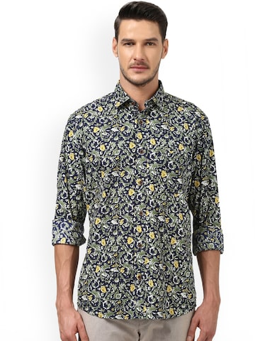 ColorPlus Men Green & Navy Blue Tailored Fit Printed Casual Shirt ColorPlus Shirts at myntra