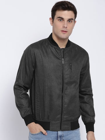 V Dot Men Black Solid Leather Jacket V Dot Jackets at myntra