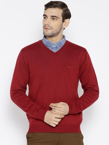 Raymond Men Maroon Solid Pullover Raymond Sweaters at myntra