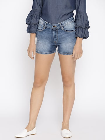 Pepe Jeans Women Navy Blue Washed Denim Shorts Pepe Jeans Shorts at myntra