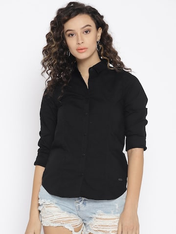 Pepe Jeans Women Black Regular Fit Solid Casual Shirt Pepe Jeans Shirts at myntra