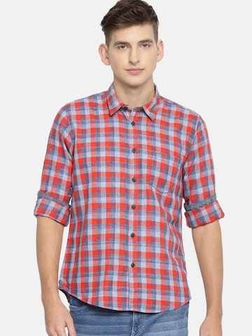 Pepe Jeans Men Red & Blue Regular Fit Checked Casual Shirt Pepe Jeans Shirts at myntra