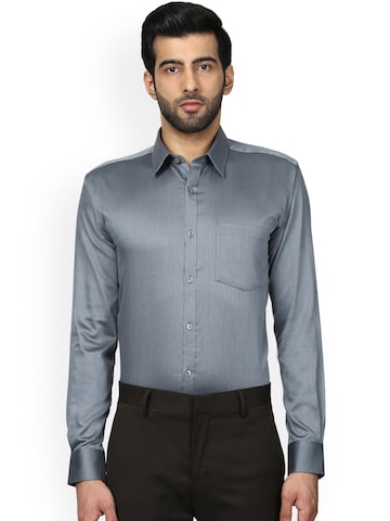 Park Avenue Men Grey Slim Fit Self Design Formal Shirt Park Avenue Shirts at myntra