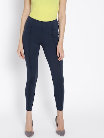 MANGO Navy Blue Solid Treggings MANGO Jeggings at myntra
