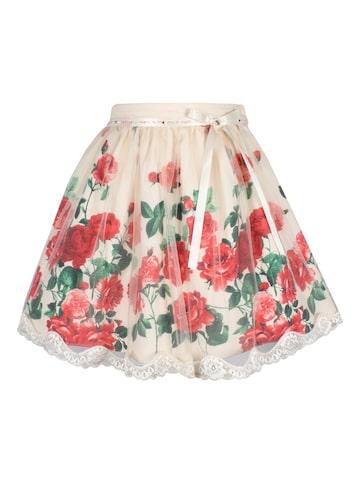 CUTECUMBER Girls Beige & Red Self Design Flared Skirt CUTECUMBER Skirts at myntra