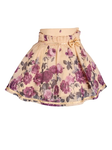 CUTECUMBER Girls Beige & Purple Printed Flared Skirt CUTECUMBER Skirts at myntra