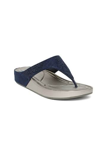 Tresmode Women Navy Blue Solid T-strap Flats Tresmode Flats at myntra