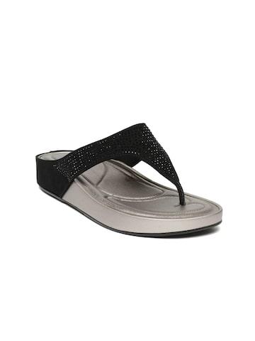 Tresmode Women Black Solid Open Toe Flats Tresmode Flats at myntra