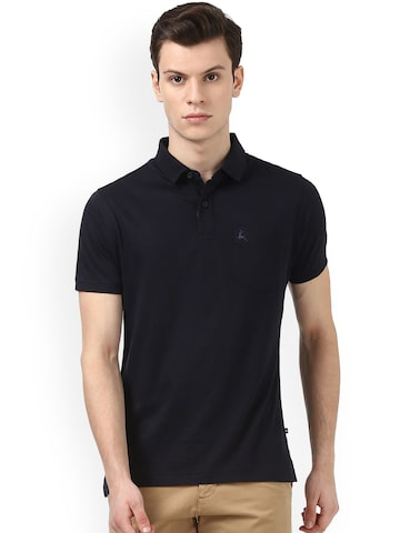 Parx Men Black Solid Polo Collar T-shirt Parx Tshirts at myntra