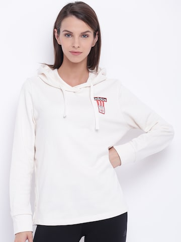 Adidas Originals White Hooded Sweatshirt Adidas Originals Sweatshirts at myntra