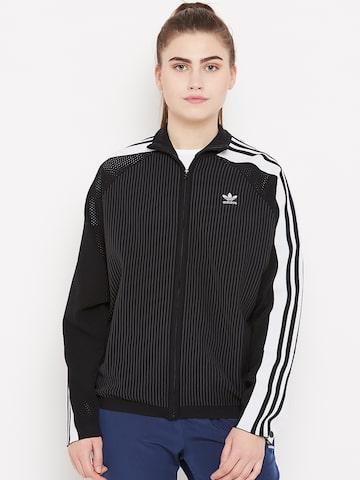 Adidas Originals Women Black Adibreak Self Striped Track Jacket Adidas Originals Jackets at myntra