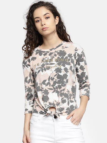 Deal Jeans Women Peach-Coloured & Grey Printed Top Deal Jeans Tops at myntra