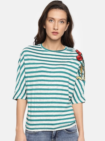 Deal Jeans Women Grey Melange & Blue Striped Top Deal Jeans Tops at myntra