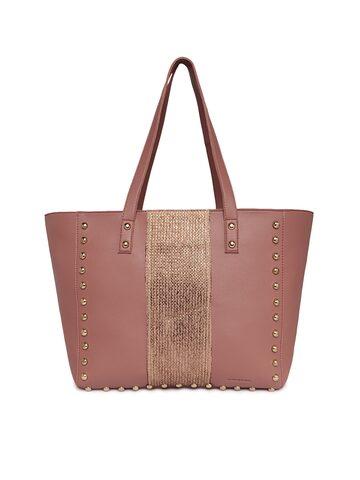 Kanvas Katha Pink Solid Tote Bag Kanvas Katha Handbags at myntra