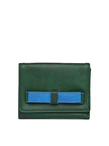 Baggit Women Green & Blue Textured Three Fold Wallet Baggit Wallets at myntra