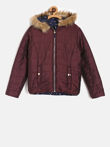Allen Solly Junior Girls Navy Blue & Maroon Reversible Padded Jacket Allen Solly Junior Jackets at myntra