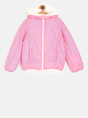 Allen Solly Junior Girls Pink & Peach Solid Reversible Padded Jacket Allen Solly Junior Jackets at myntra