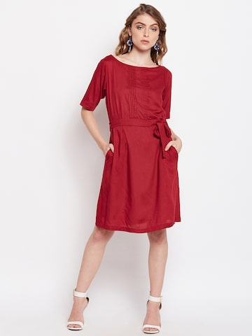 Meee Women Maroon Solid Fit and Flare Dress Meee Dresses at myntra