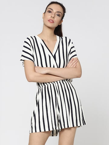 ONLY Women White & Navy Blue Striped Playsuit ONLY Jumpsuit at myntra