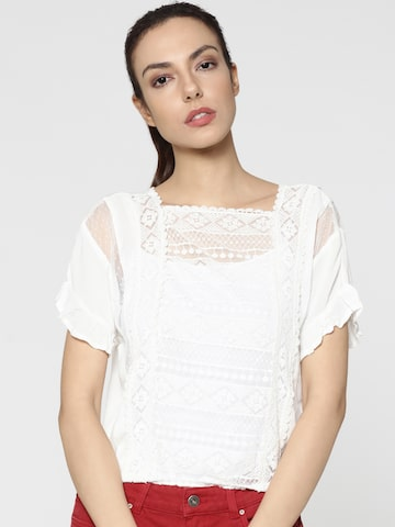 ONLY Women White Lace Semi-Sheer Blouson Top ONLY Tops at myntra