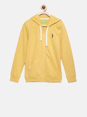 Bossini Boys Yellow Solid Hooded Sweatshirt Bossini Sweatshirts at myntra