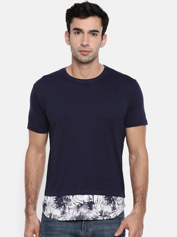 ELABORADO Men Navy Blue T-shirt ELABORADO Tshirts at myntra