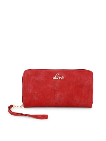 Lavie Women Red Self Design Zip Around Wallet Lavie Wallets at myntra