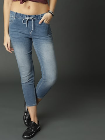 Roadster Women Blue Slim Fit Mid-Rise Clean Look Stretchable Cropped Jeans Roadster Jeans at myntra