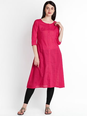 RANGMANCH BY PANTALOONS Women Pink Solid A-Line Kurta RANGMANCH BY PANTALOONS Kurtas at myntra