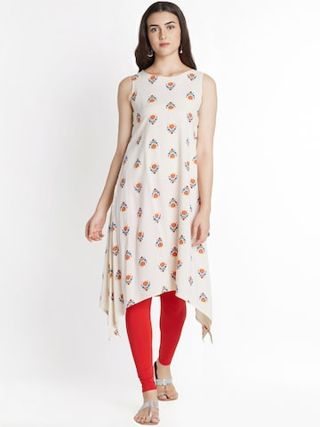 RANGMANCH BY PANTALOONS Women Off-White Printed A-Line Kurta RANGMANCH BY PANTALOONS Kurtas at myntra