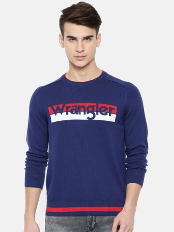 Wrangler Men Navy Blue Printed Pullover Sweater Wrangler Sweaters at myntra