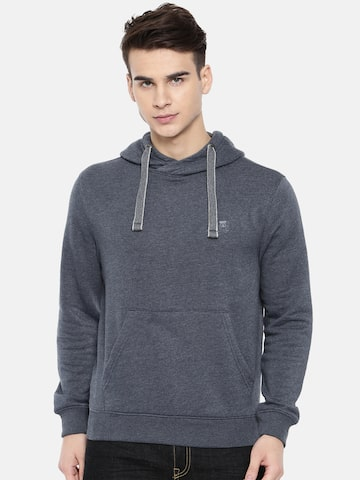 Wrangler Men Navy Blue Solid Hooded Sweatshirt Wrangler Sweatshirts at myntra