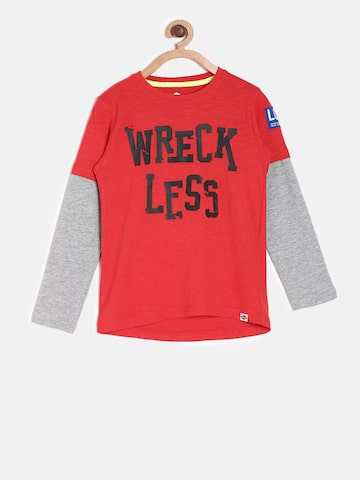 Lee Cooper Boys Red Printed Round Neck T-shirt Lee Cooper Tshirts at myntra
